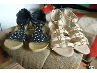 Two pairs of ladies dressy sandals/shoes. Black size 7,Blush beige size 8. Hardly worn.