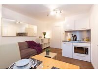 1 month min-COSY 1BED FLAT fully furnished-bedroom/living/kitchenette/wooden floor/440 all inc