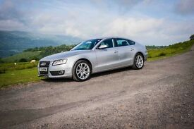 Silver 2009 Audi A5 2.0 TDI SE Sportback 5DR. Fully loaded with all the specs.