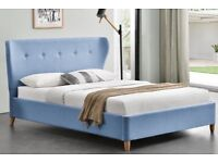 Wing Headboard Blue Fabric Upholstered Bed King Size