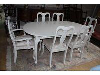 french inspired shabby chic table and six chairs