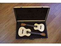 Matching pair of hand-made Ukuleles. Concert and Tenor.