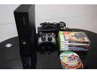 Xbox 360 Slim + Wireless Steering Wheel + Games + Pads