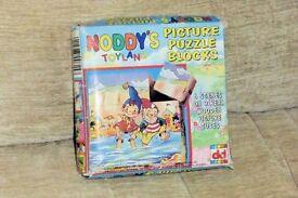 Child's Vintage Noddy's Toyland Picture Puzzle Blocks / Bricks Toy, 6 Scenes on 9 Wood Cubes, Histon