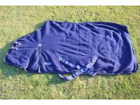 *RHINEGOLD 6'6 NAVY FLEECE MULTIPURPOSE RUG,SHOW/TRAVEL/COOLER.VGC*