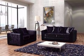 """Luxury 2+3 seater Dylan Crushed Velvet sofa in Black and silver color!! """"Express Delivery"""""""