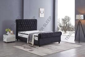 Popular Bed Frame-King Size Plush Velvet Ottoman Storage Sleigh Bed Frame in multi-Colors
