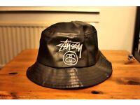 100% Genuine Stussy Leather Black Bucket Hat UNISEX