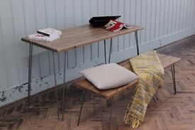 New Massive Wooden Table 80cm x 160cm with Bench 35cm x 145 cm metal legs Free Delivery