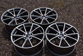 "18"" Audi RS4 Style Alloy Wheels Audi A3 TT 2nd Gen A4 Brand New Satin Grey Polished VW Golf Mk5"