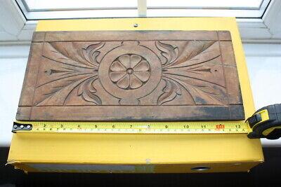 CARVED WOODEN PANEL VINTAGE ANTIQUE WRITING SLOPE BOX CLOCK WOOD DOOR CABINET