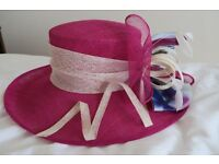 Formal Hat, Condici label, cerise with cream band and pale blue bow