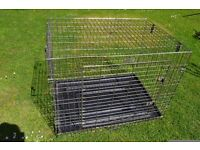 LARGE DOG CAGE & INNER BASE (FOLDS AWAY WITH CARRY HANDLE) 92x65x27cm