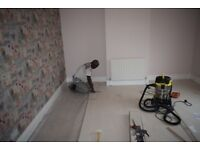 Laminate flooring, painting and wallpapering