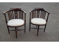 Pair Antique Victorian Bow Back chairs