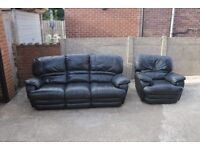 Real Leather Black Recliner Sofa with Armchair