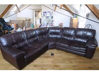 Brown Leather Corner Sofa - 5 years old, very comfortable, selling because of space