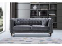 Florence 3+2 seater sofa set in grey color-plush velvet sofa