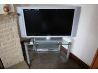 Philips TV with Philips DVD player and Glass TV stand