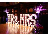 Hire our stunning 5ft Light Up MR & MRS £250