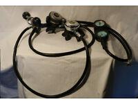 Mares Aqua Lung Twin Diving Regulators Twin Gauges