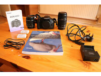 Canon 600D with 18-55mm and 55-250mm lenses, plus 2 batteries