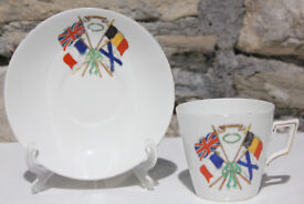 Shelley China Pre 1917 World War 1 WWI Cup and Saucer for Freedom Britain France Belgium Russia