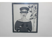Large Framed Ltd Edition Art Print (20/50) by Irish Artist Gay O'Neill Its Titled Lorgnette Picture