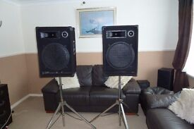 Disco/PA Speakers With Stands