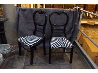 Pair of black and white chairs