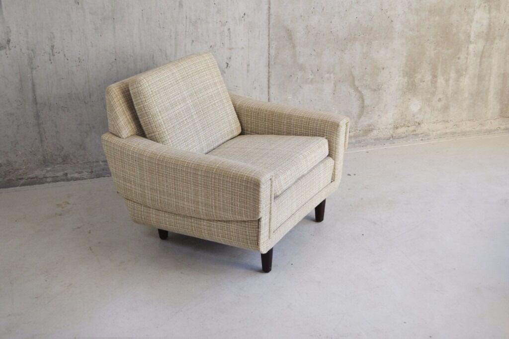 Danish 1970's mid century oatmeal checked wrap over armrest armchair