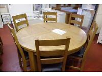 New Salisbury Erne Large Round 5ft Oak Dining Table with 6 chairs Only £899 LAST FEW