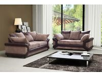 THE RIVA BRAND NEW 3+2 IN BROWN MINK 3 SETS LEFT SOFA IN AMAZING JUMBO CORD TOP QUALITY £399
