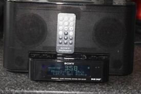 SONY DABRADIO IPODDOCK/REMOTE/AUXIN/ALARM CLOCK CAN BESEEN WORKING