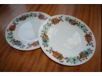2 x Vintage Retro 60s 70s Kitsch Dinner Plates Plate Cheap Bargain Easy Pick Up Style Stylish Cool