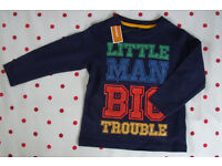 NEW Bluezoo 'Here Comes Trouble' LITTLE MAN BIG TROUBLE navy long sleeve t-shirt. 2-3 yrs. £4 ovno.
