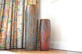 Two Large Vintage Vases,stick stand,tree,painted,carved wood,planter,home,vase,umbrella stand,home