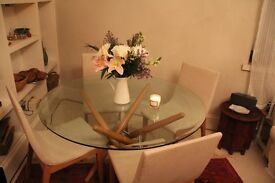 Luxurious Glass Round Dining Table & 4 Elegant Chairs. Comfortable and Classy