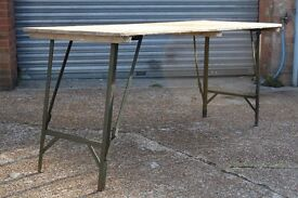 LARGE OLD VINTAGE PINE TRESTLE TABLE WITH METAL LFOLDING LEGS - CAN COURIER