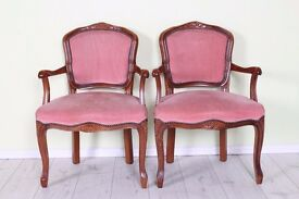2 X MATCHING FRENCH CARVER CHAIRS PINK FABRIC - CAN COURIER