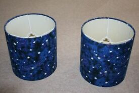 2 blue 'night sky' effect lampshades with glow in the dark stars.
