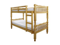solid, thick, Brazilian pine, bunk bed, 2 thick, mattress, wooden bed.turns in to single beds.