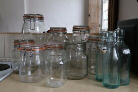 Assorted glass Kilner jars & glass bottles