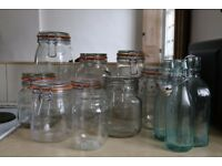 Assorted glass Kilner jars & glass bottles