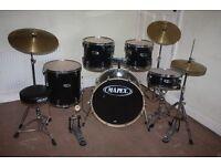 "Mapex V Series Black 5 Piece Full Drum Kit (22"" Bass) + Sabian Solar Hi Hat and Cymbals Set"