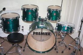 """Premier XPK Emerald Green Lacquer 5 (or 7) Piece Drum Kit (22"""" Bass) - Made In England - DRUMS ONLY"""