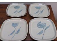 POTTERY Plates x 4 Blue