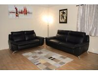 Ex-display Natuzzi Editions Napoli black leather 3+2 seater sofas