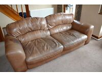 DFS Italian Leather tan 4 + 2 seater sofas with matching storage footstool