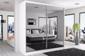 3 COLORS --50% OFF--BERLIN SLIDING WARDROBE FULLY MIRROR WITH SHELVES AND HANGING RAILS
